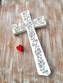 Dekorácie - Krížik biely - kvety - 12243873_