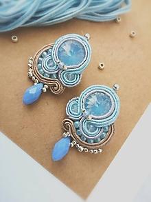 Náušnice - Midi šujtášové náušnice v modrom - 12245614_