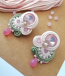 Náušnice - Midi šujtášové náušnice v ružovom - 12245635_