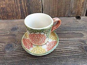 Nádoby - Espresso šálka + tanierik Kvety zelené 100 ml - 12246755_