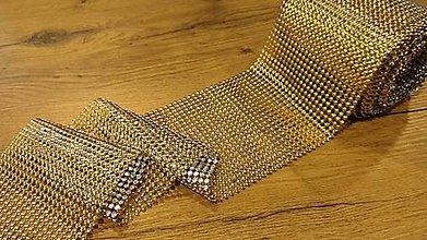 Galantéria - Kamienková stuha pologuľa- zlatá - cena za 10 cm - 12246463_