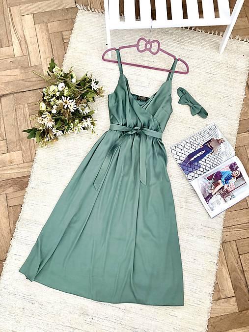 Šaty - Hodvábne midi šaty - 12247160_