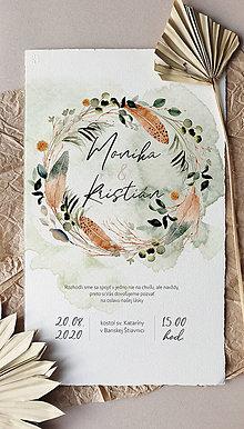 Papiernictvo - svadobné oznámenie 012, Boho, ručný papier - 12248203_