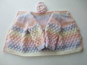 Detské oblečenie - Dúhový svetrík s bublinkovým vzorom + gumička s 3D kvietkom grátis - 12246638_