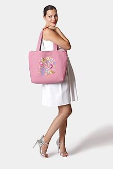 Veľké tašky - Kabelka stredne veľká ružová s výšivkou - 12252652_
