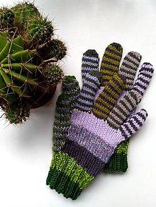 Rukavice - Samé pásiky zeleno fialkové - 12250003_