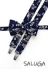 Doplnky - Pánsky motýlik a traky - tmavomodrý - vzorovaný - navy blue - kvetinový - modrý - 12251014_