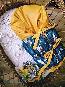 Textil - Paperová zavinovacka horčicovu so zvieratkami na petrolejj - 12252033_