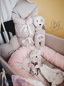 Textil - Setik do postieľky ružovo sedy - 12252043_