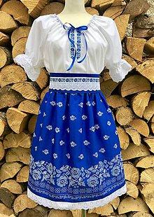 Šaty - Folklórny dámsky kroj modrý - 12250832_