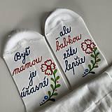 Obuv - Maľované ponožky pre šťastnú mamu a babku (folk) - 12252292_