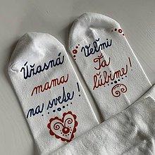 """Obuv - Maľované ponožky pre MAMU (biele s nápisom: """"úžasná mama"""") - 12252261_"""