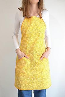 Iné oblečenie - žltá zástera (2 vrecká) - 12250021_
