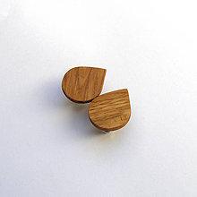 Náušnice - Drevené náušnice klipsňové - dubové slzičky - 12250842_