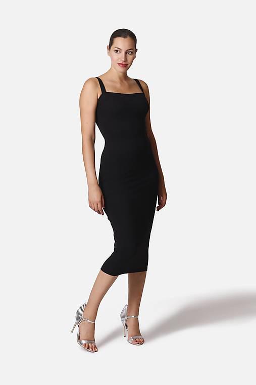 Šaty - Šaty midi s tenšími ramienkam - 12253328_