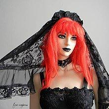 Ozdoby do vlasov - Gotický čierny čipkový závoj - 12255600_