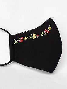 Rúška - Čierne rúško 2-vrstvové s výšivkou Tulipány - 12254621_