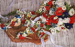 Ozdoby do vlasov - Svadobný lúčny set  - pierko pre ženícha a náramky - 12256373_