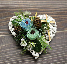 Dekorácie - Srdičko - modré ruže - 12256443_