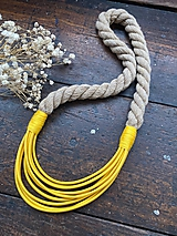 Náhrdelníky - Žlutá a béžová - 12254300_