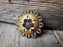 Brošne - Brošňa Black flower - 12254205_