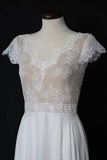 Šaty - Svadobné šaty s kruhovou šifónovou sukňou SKLADOM - 12253633_