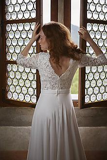 Šaty - Svadobné šaty s kruhovou šifónovou sukňou SKLADOM - 12253707_