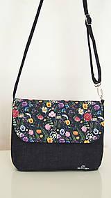 Kabelky - Kabelka- lúčne kvety na čiernej  - 12254140_