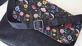 Kabelky - Kabelka- lúčne kvety na čiernej  - 12254141_
