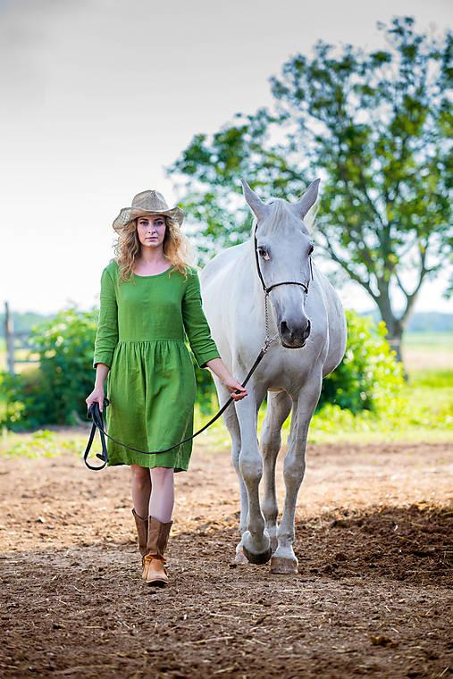 Šaty - Ľanové šaty Malvína, posledný kus S - 12257715_