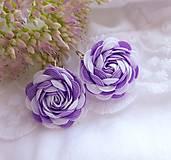Náušnice - Náušnice - textilné ružičky (Fialová) - 12258359_