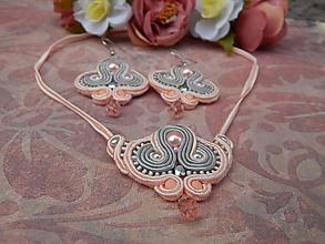 Sady šperkov - Marhuľovo-šedá sada - 12256971_