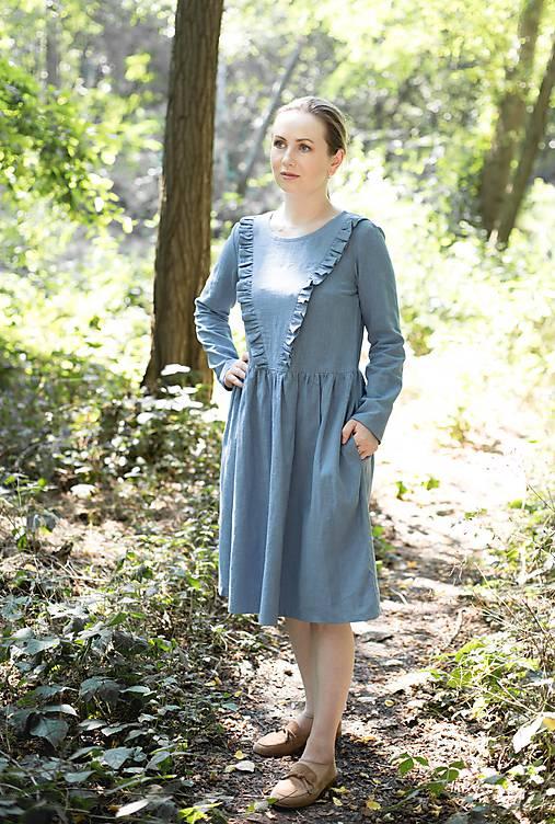 Šaty - Lněné šaty, světle modré - 12258601_
