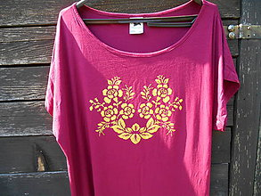 Šaty - golden flowers Tshirt- tričko šaty - 12261824_