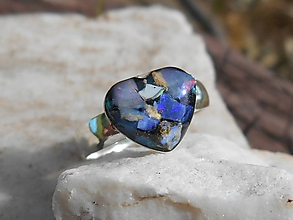 Prstene - ring with heart- opals - 12262089_