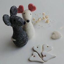 Dekorácie - Dvojica plstených myšiek - 12260831_