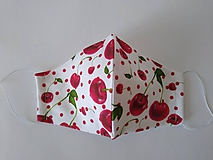 Rúška - Dizajnové rúško čerešne prémiová bavlna tvarované dvojvrstvové - 12262610_