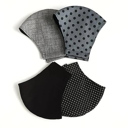 Pánske rúško tvarované, 100 % bavlna (Sivé s čiernymi bodkami (pánska veľkosť))