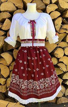 Šaty - Folklórny dámsky kroj bordový - 12263068_