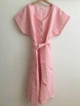 Šaty - Ľanové šaty s V- výstrihom - 12262532_