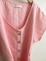 Šaty - Ľanové šaty s V- výstrihom - 12262535_