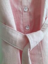 Šaty - Ľanové šaty s V- výstrihom - 12262537_