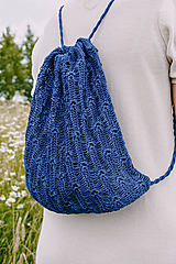 Batohy - Ľanový batoh HELEN modrý 100 % ľan - 12262321_