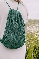 Batohy - Ľanový batoh HELEN zelený 100 % ľan - 12262334_