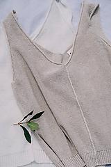 Tielka - Krémový top MIA - 70 % bavlna + 30 % ľan - 12262339_