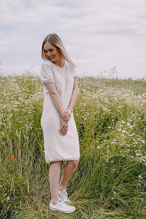 Krémové šaty MELISA - 100% bavlna