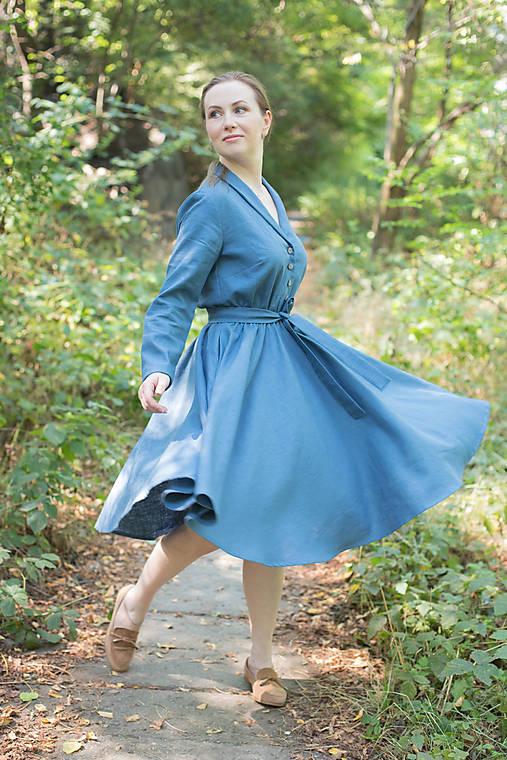 Šaty - Lněné šaty s kolovou sukni - 12263358_