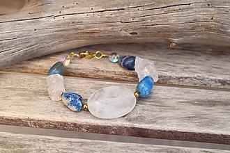 Náramky - Bohemian náramok z minerálov lapis lazuli a krištáľ - 12263697_
