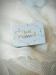 Drobnosti - Svadobné zápalky Just married - 12267021_