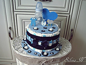 Detské doplnky - Plienková torta modrá. - 12265844_
